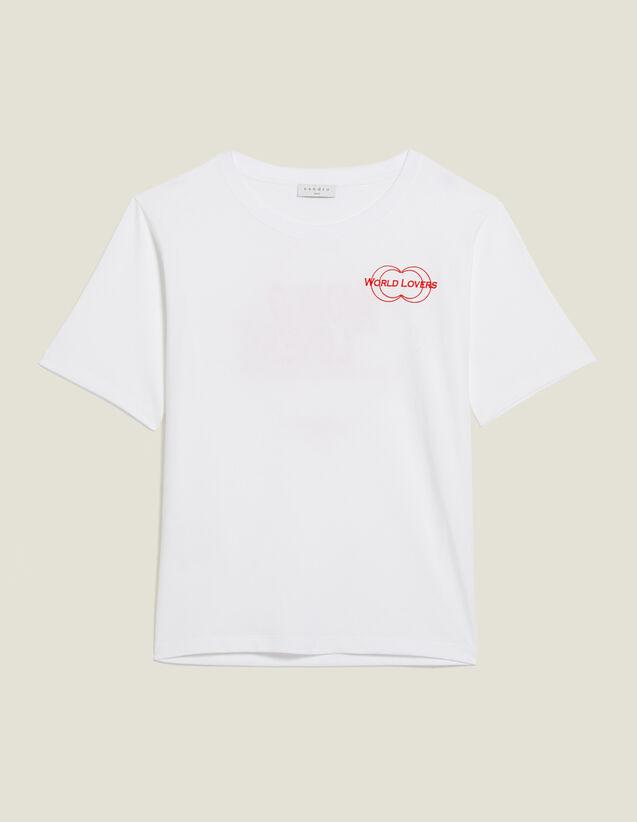 T-Shirt Mit Beflocktem Schriftzug : T-shirts farbe Weiß