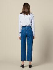 Zweifarbige Jeans Mit Mom-Schnitt : Jeans farbe Bleu Denim