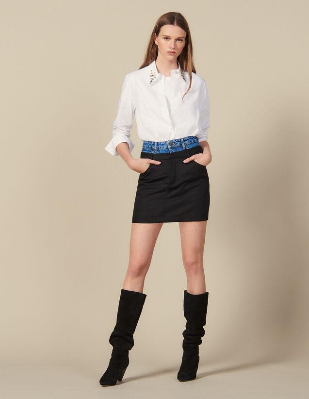 Kurzer Rock Trompe-L Œil-Effekt : Röcke & Shorts farbe Schwarz