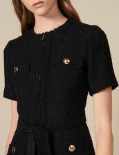 Kurzes Kleid mit plissiertem Saum : Kleider farbe Schwarz