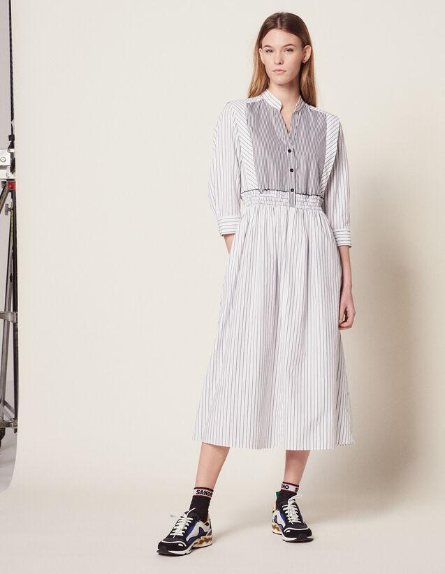 Gestreiftes Midi-Kleid Aus Baumwolle : Kleider farbe Weiß