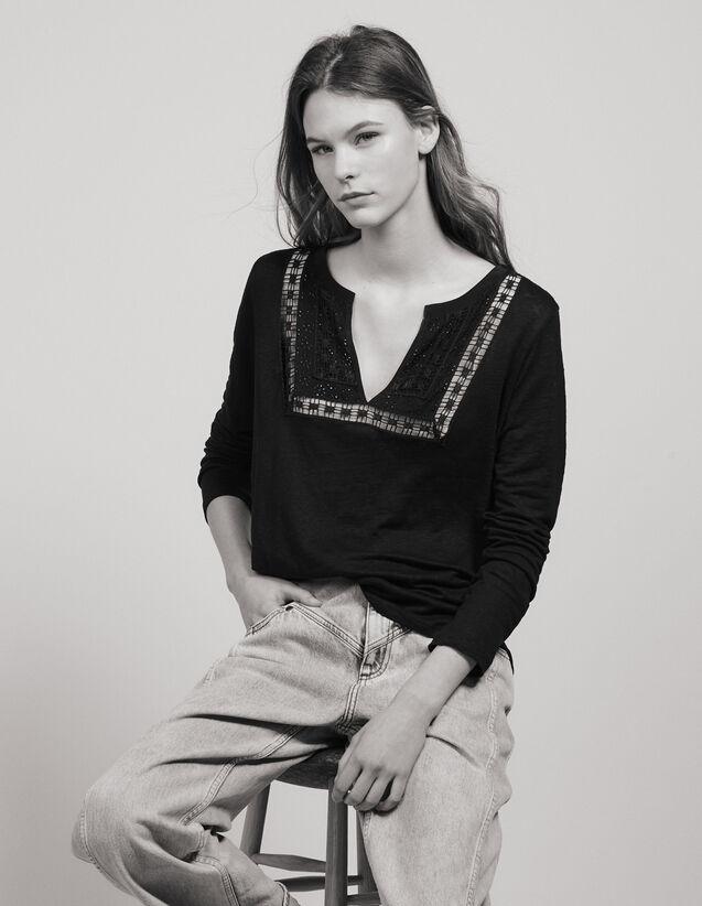 T-Shirt Aus Leinen Mit Henley-Kragen : Tops & Hemden farbe Schwarz