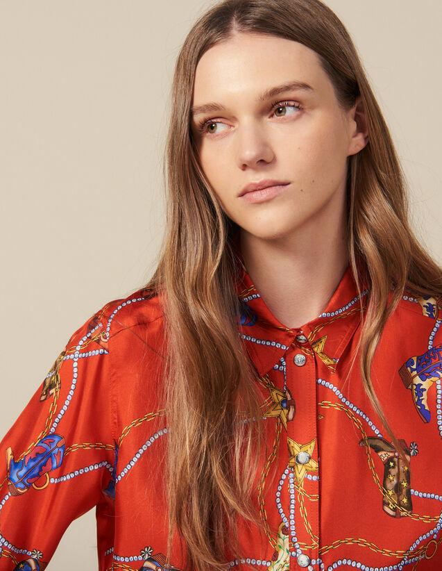 Hemdbluse Mit Print Aus Seidentwill : Tops & Hemden farbe Rot