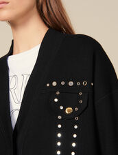 Cardi-Coat mit Nietenverzierung : Pullover & Cardigans farbe Schwarz