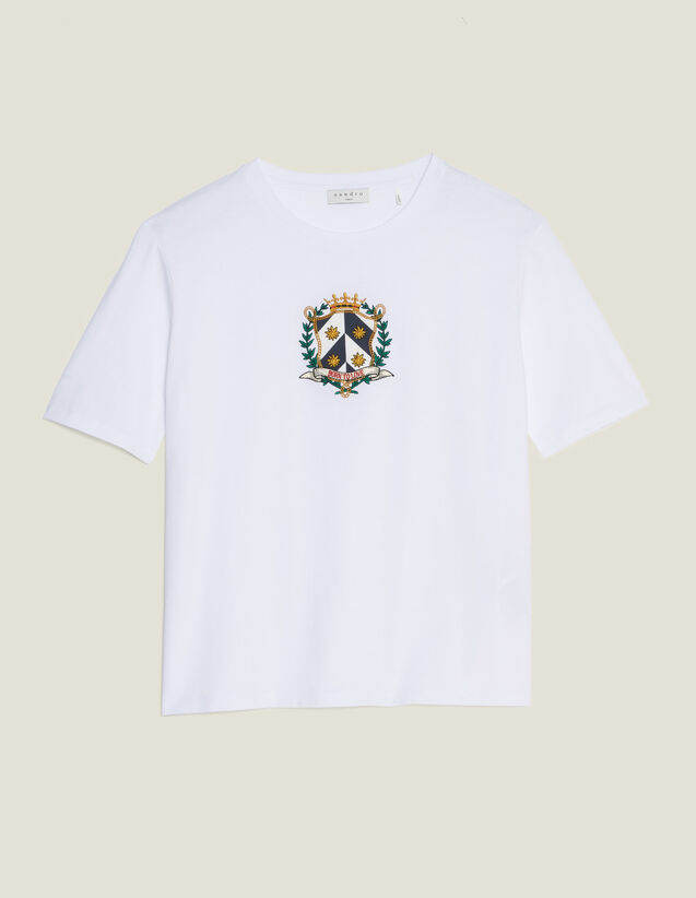 Kurzes T-Shirt Mit Stickerei : T-shirts farbe Weiß