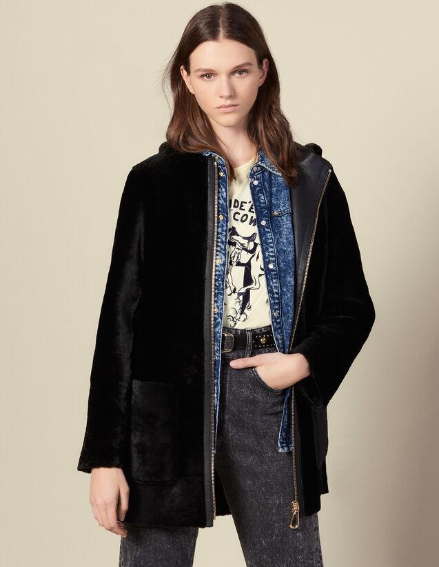 Mantel aus Lammfell mit Lederpatte : Mäntel farbe Schwarz