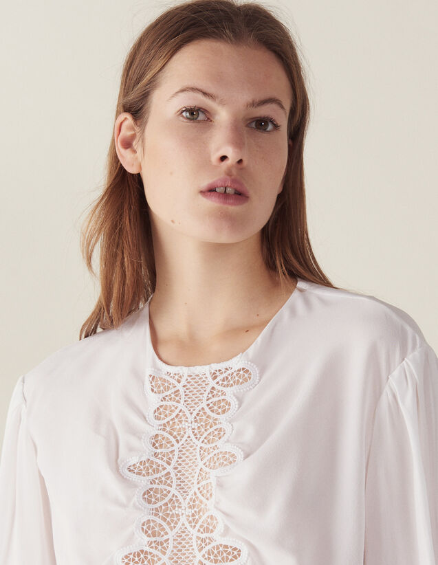 Seidentop Mit Langen Ärmeln : Tops & Hemden farbe Weiß