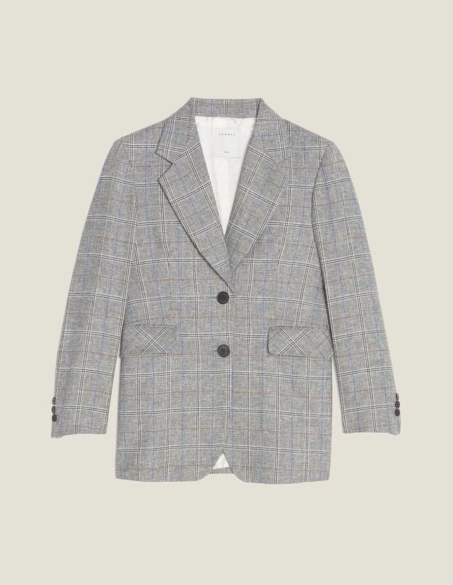 Blazer Mit Karomuster : Blousons & Jacken farbe Grau
