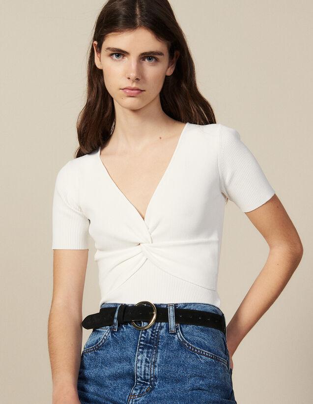 Kurzes Top Aus Rippstrick : Tops & Hemden farbe Weiß