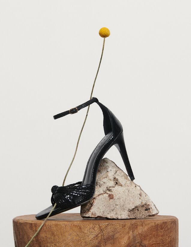 Sandalen aus geprägtem Leder : Schuhe farbe Schwarz