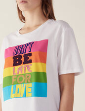 Baumwoll-T-Shirt Mit Schriftzug : LastChance-FR-FSelection farbe Weiß