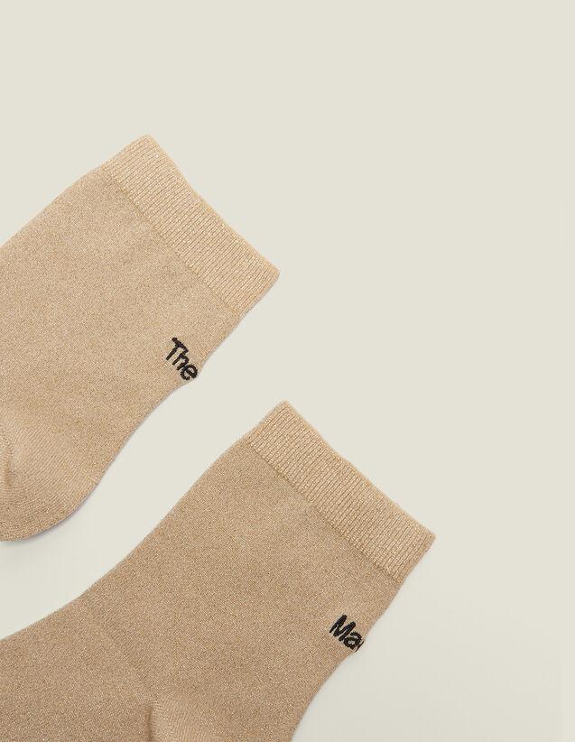 Lurex-Strümpfe Mit Stickerei : Socken farbe Gold