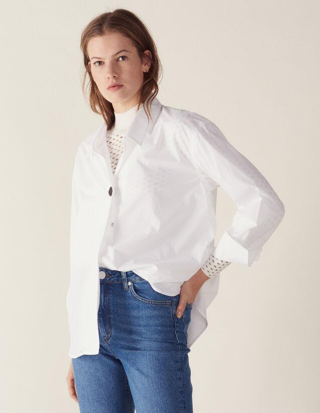 Baumwoll-Hemdbluse Mit Schmuckknopf : Tops & Hemden farbe Weiß
