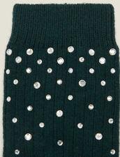 Strümpfe mit Strassverzierung : Socken farbe Tannengrün
