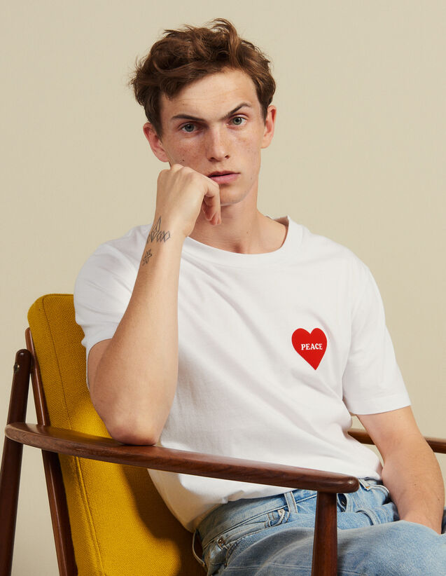 Baumwoll-T-Shirt Mit Beflocktem Herz : T-Shirts & Polos farbe Weiß