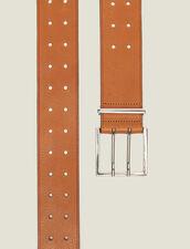 Breiter Ledergürtel : Gürtel farbe Curcuma