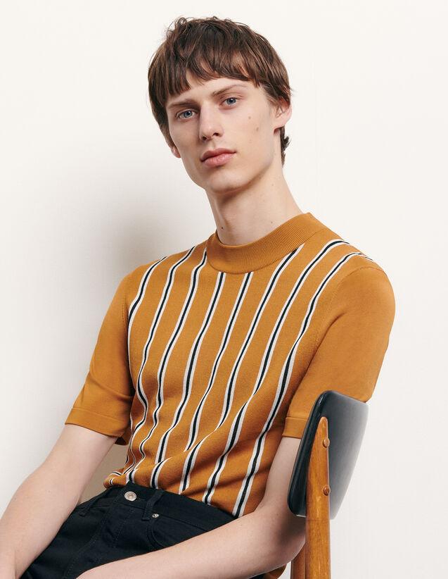 Gestreiftes T-Shirt aus Strick : T-Shirts & Polos farbe Camel