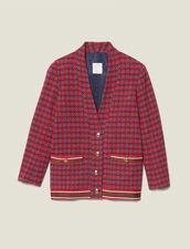 Cardi-Coat aus Tweed mit Schmuckknöpfen : Blousons & Jacken farbe Rot