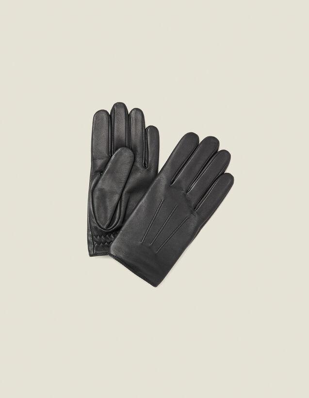 Lederhandschuhe : Handschuhe & Mütze farbe Schwarz