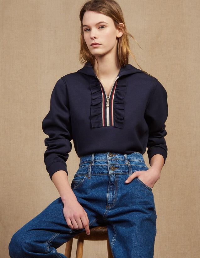 Kapuzen-Sweatshirt Mit Reißverschluss : Sweatshirts farbe Marine