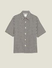 Schach-Hemd Aus Japanischem Stoff : Sélection Last Chance farbe Schwarz