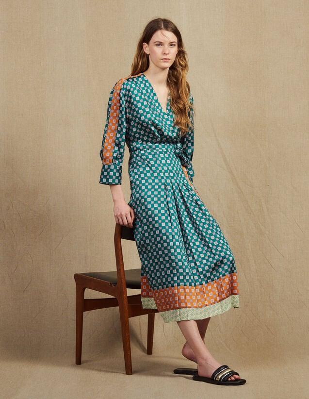 Langes Kleid Mit Print-Patchwork : Kleider farbe Grün
