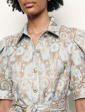Mantelkleid aus Brokat : Kleider farbe Or / Bleu