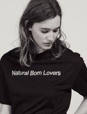 Oversize-T-Shirt Mit Kontrast-Schriftzug : null farbe Schwarz