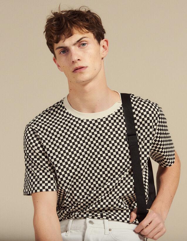 T-Shirt Aus Baumwolle Mit Schachmuster : JP-UK-HSelectionPAP farbe Schwarz