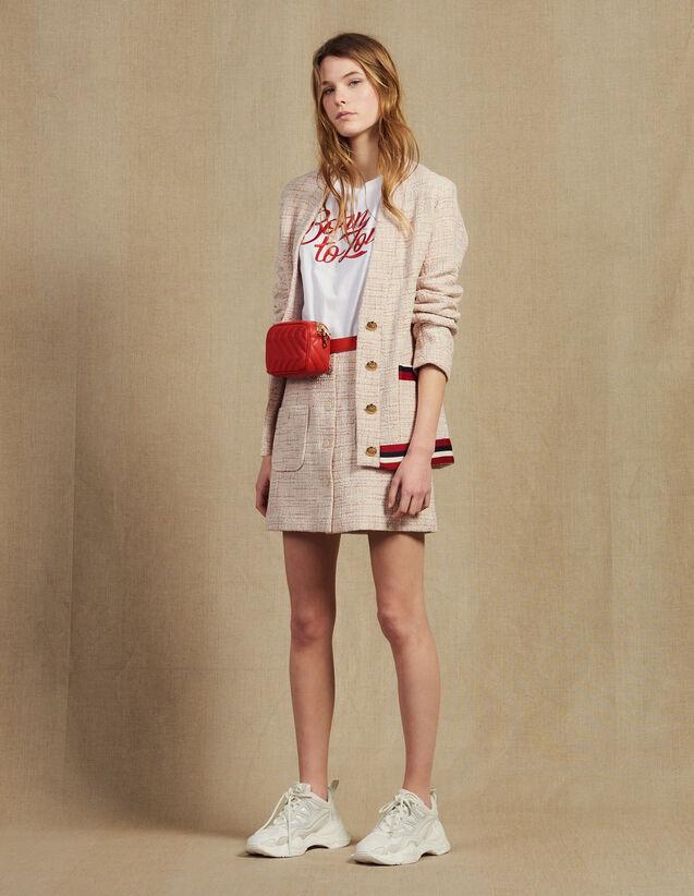 Westenjacke Aus Tweed : Blousons & Jacken farbe Rosa