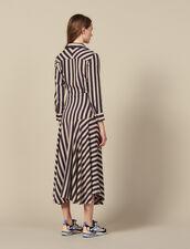 Langes gestreiftes Kleid : LastChance-ES-F50 farbe Beige / Bleu