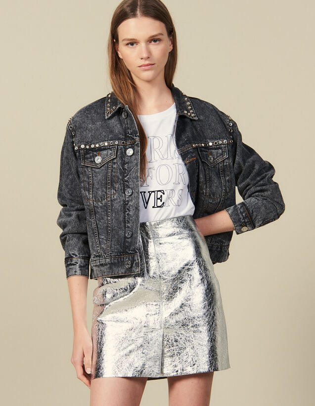 Kurzer Rock Aus Silberfarbenem Leder : Röcke & Shorts farbe Silber
