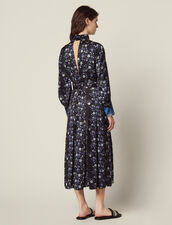 Midi-Kleid Mit Print-Mix Und Stehkragen : null farbe Blau
