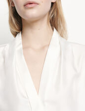 Seidenhemdbluse mit V-Ausschnitt : Tops & Hemden farbe Ecru