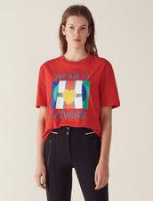 T-Shirt Mit Fahnenlogo Und Stickerei : LastChance-FR-FSelection farbe Rot