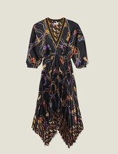 Langes Kleid mit Plissee-Rockteil : LastChance-ES-F40 farbe Schwarz