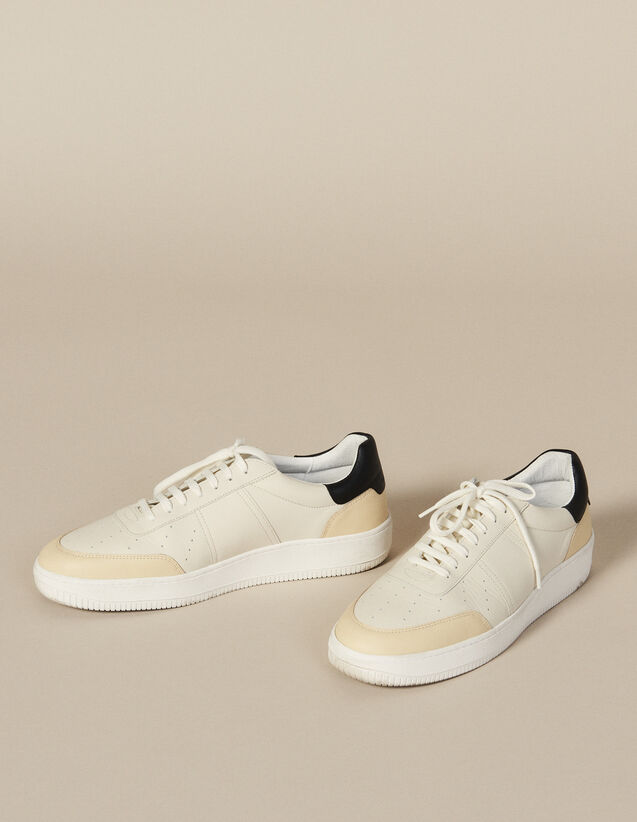 Sneaker Aus Leder : Winterkollektion farbe Weiss/Schwarz