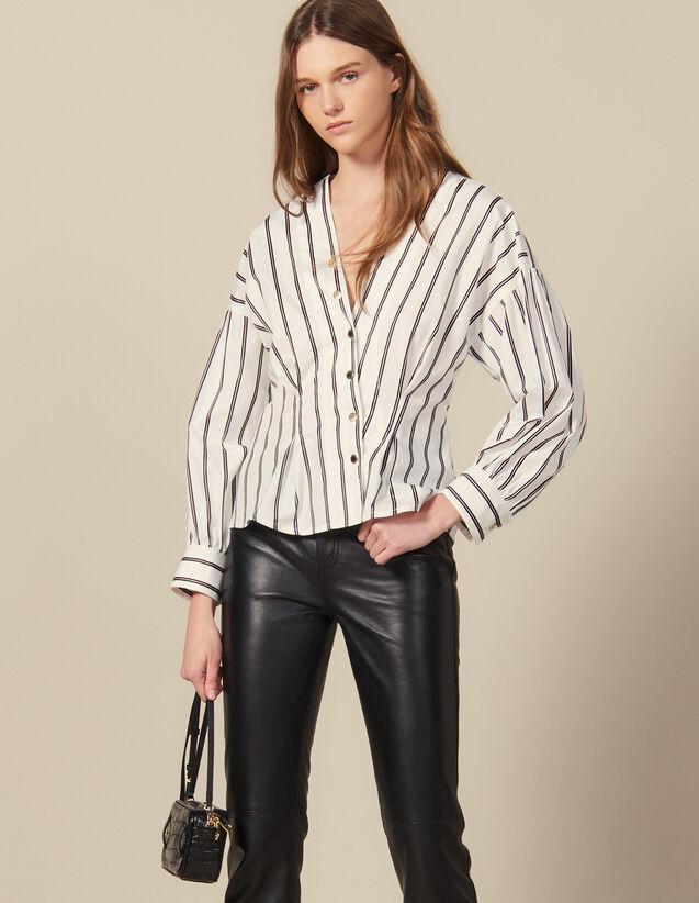 Hemdbluse Aus Gestreiftem Popeline : Tops & Hemden farbe Weiß