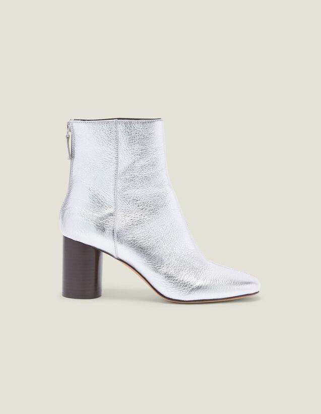 Stiefeletten Aus Metallic-Leder : Schuhe farbe Silber