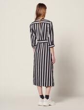 Midi-Kleid Mit Kontraststreifen : null farbe Schwarz