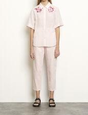 Hemd aus Leinen mit Stickereien : Tops & Hemden farbe Rose pastel