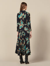 Langes Kleid mit Print und Bindedetail : LastChance-ES-F50 farbe Schwarz