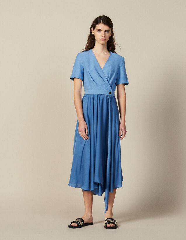 Wickelkleid Aus Materialmix : Kleider farbe Blau