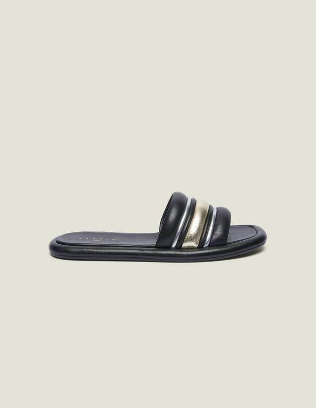 Flache Pantoletten Aus Materialmix : Schuhe farbe Schwarz/Gold