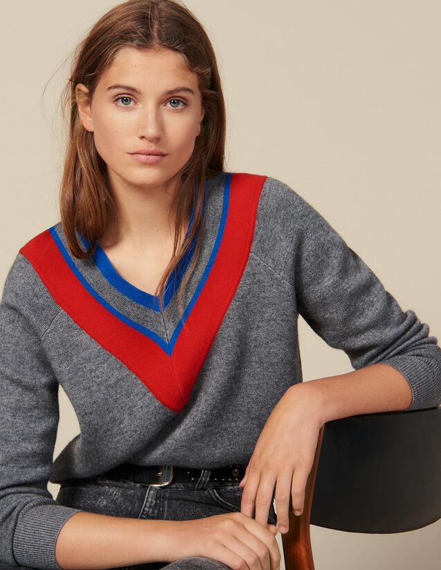 Pullover Mit Borte Am Halsausschnitt : New In farbe Grau