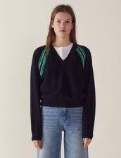 Pullover Mit Langen Ärmeln Und Borten : null farbe Marine
