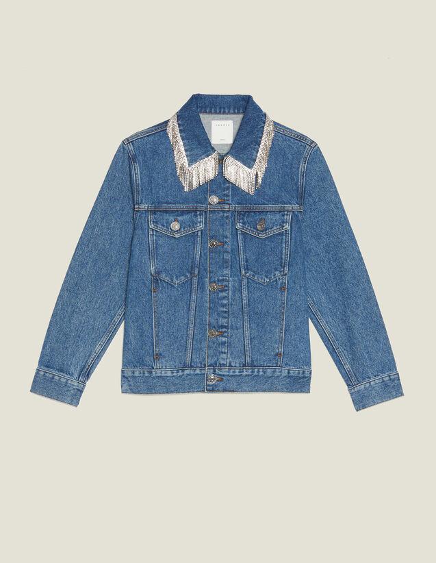 Jeansjacke Mit Strassbesatz Am Kragen : Blousons & Jacken farbe Blue Vintage - Denim