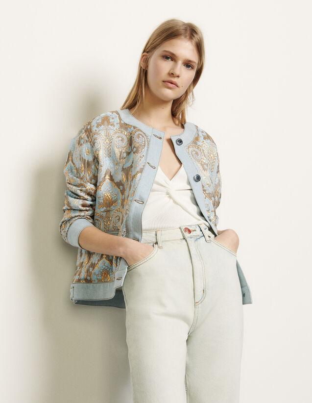 Jacke aus Brokat und Jeanseinsätzen : Blousons & Jacken farbe Or / Bleu