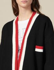 Cardi-coat mit Kontraststreifen : Pullover & Cardigans farbe Schwarz