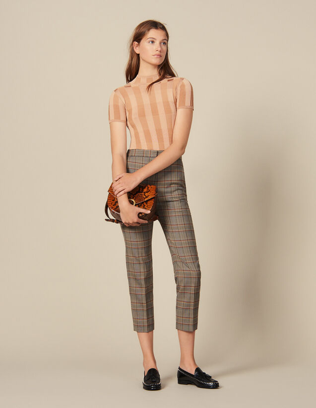 Gerade geschnittene Hose mit Karomuster : Hosen farbe Bunt